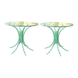 Pre-owned Turquoise High Gloss Iron Side Tables - A Pair - We envision these fabulous side tables flanking a clean lined Mid-Century sofa and paired with brass accents. This pair of high gloss turquoise finished vintage tables with glass tops will be sure to add style to any Mid-Century or Hollywood Regency style room.