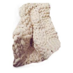 "Chunky Knit Throw, Merino Wool, Hand Knit - Luscious Merino Wool. Super Soft ""SMOOSH BLANKET"