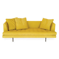 EcoFirstart.com - The Edward sofa is an update of the BENSEN Ed sofa and utilizes a number of new production techniques for improved comfort and a more refined profile. The name Edward is a reference to American mid century designer Edward Wormley whose designs have remained highly influential, yet is not well known beyond the design community. Edward combines the use of several down-filled back cushions with a single seat cushion to give it an informal and relaxed appearance. The buttoned seat cushion alludes to the Edward's mid century roots, yet its proportions and comfort are decidedly contemporary. The backrest and arms are appropriately scaled to give excellent back support without appearing oversized and heavy, while the down-filled back cushions conform to give superb comfort. The sofa's frame is constructed with a durable steel frame featuring an elastic webbing suspension system adapted from the automotive industry with CNC precision cut foam used for the arms and back to give superior comfort and a tailored appearance. The imported European seat and down back cushions have been carefully selected for durability, firmness and comfort. Seat cushions are made of CFC-free polyurethane, softened by a continuous soft fiber wrap. Back cushions are baffled for even distribution of feathers and batting and to prevent shifting, thereby providing better lumbar support.