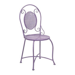 Yates Purple Iron Bistro Chair - Imagine indulging in a warm cup of coffee at the corner sidewalk cafe or a nice afternoon at the bakery for a sweet treat! This bistro chair adds color and personality to any location with its iron design.