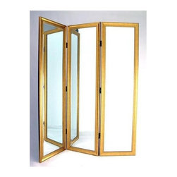 Wayborn - 3 Panel Dressing Screen in Gold Finish - 3 Panels. Black velvet back. Mirror with resin frame. Smooth finish. 60 in. W x 72 in. H (74 lbs.)