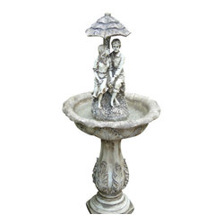 Serenity Health & Home Decor - Lovers Umbrella Solar On-Demand Fountain - A quaint nod to the fountains of yesteryear, this one features a young boy and girl stealing a moment undercover. Your backyard garden or front patio will be even more charming under the spell of its old-fashioned magic. One or two days of sun keeps its solar-powered battery running for up to four hours at a time.