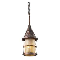 ELK Lighting - One Light Antique Copper Amber Scavo Glass Hanging Lantern - One Light Antique Copper Amber Scavo Glass Hanging Lantern