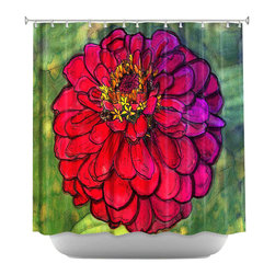 DiaNoche Designs - Shower Curtain Artistic - Parisian Zinnia - DiaNoche Designs works with artists from around the world to bring unique, artistic products to decorate all aspects of your home.  Our designer Shower Curtains will be the talk of every guest to visit your bathroom!  Our Shower Curtains have Sewn reinforced holes for curtain rings, Shower Curtain Rings Not Included.  Dye Sublimation printing adheres the ink to the material for long life and durability. Machine Wash upon arrival for maximum softness on cold and dry low.  Printed in USA.