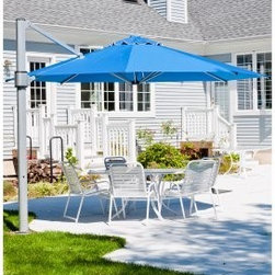 Frankford Umbrella Eclipse 13-ft. Octagon Commercial Grade Rotating Offset Umbre - This elegant and modern Frankford Umbrella Eclipse 13-ft. Commercial Grade Rotating Offset Umbrella with Mount combines style with strength size and durability. The multiple tilt level give maximum shade flexibility. Open the acrylic shade and maneuver the tilt via the easy-to-use crank lift. The anodized aluminum frame will last for years and years. Plus the offset design helps you maximize your space. A wonderful choice for outdoor living entertaining and relaxation. This umbrella is available with your choice of mounting hardware. Choose the in-ground base plate that's perfect for patios or the bolt on patio/deck base plate. Both feature steel construction and heavy-duty hardware.