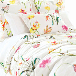 Pine Cone Hill - watercolor flowers sham - Designed in the Berkshires of Massachusetts, every item from the pine cone hill bedding collection has been tailored from high quality imported textiles in a variety of versatile neutrals, vibrant hues and engaging patterns. Choose from textiles that weave a complementary theme throughout your entire bedroom and beyond. Many patterns and colors are available in blankets, duvets. throws, decorative pillows, shams and bed skirts.
