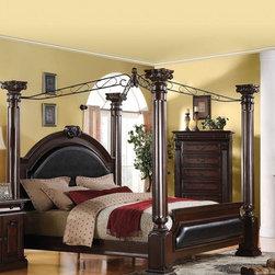 Acme Furniture - Roman Empire Dark Cherry Canopy California King Bed - 19326CK - Roman Empire Collection California King Bed