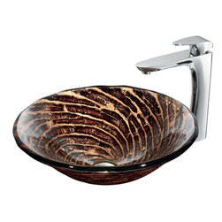 Vigo - Caramel Vessel Sink in Chocolate Swirl with Chrome Faucet - The VIGO Caramel Above The Counter Round Tempered Glass Vessel Sink in Chocolate Swirl is sure to bring a rich earthiness to your bathroom. Coupled with a chrome faucet, the sink brings a distinguished elegance to your bathroom.