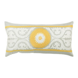 "Gray and Yellow Pillows, 11"" x 21"", Set of 2 - *11"" x 21"" Pillow with Hidden Zipper"