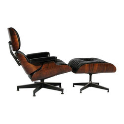 Herman Miller - Pre-owned Herman Miller Rosewood Lounge Chair & Ottoman - Step on up, sit back and put your feet up!     An exceptional early production, Brazilian rosewood and black leather, lounge chair and ottoman by Charles Eames for Herman Miller. This is an early 1960's model, no. 670 and 671, and is labeled with the Herman Miller Los Angeles cloth label on the bottom of the ottoman as well as a white medallion label on the lounge chair. The cushions are feather and down-filled.  The ottoman measures: 25.5 w x 21 d x 16 h inches.