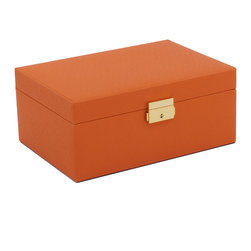 WOLF - Brighton Jewelry Box Small, Orange - Add a pop of color with the Brighton collection. Each case features a rich, saffiano leather exterior in orange, cream, or black and a contrasting plush interior.  The small jewelry box contains a vanity mirror behind the lid and two small pull out trays with open compartments and a ring roll.