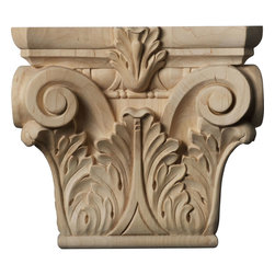 """Ekena Millwork - 9 1/2""""W x 6""""BW x 3 1/4""""D x 8 3/8""""H Medium Floral Roman Corinthian Capital (Fits - Our wood capitals are finely carved after traditional styles and design.  These capitals are primarily used against the wall complimented with the appropriate size trim or casing to give the opening a look of a supporting column.  They come to you fully sanded and ready for your paint, clear-coat, or stain."""