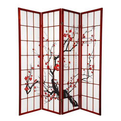 Oriental Furniture - 6 ft. Tall Flower Blossom Divider - Rosewood - 4 Panels - This modern adaptation of a traditional shoji screen has been printed with a blossoming cherry tree, an age-old symbol of Japan. Built from spruce and translucent rice paper, this light and airy screen is perfect for adding a decorative accent, providing privacy, or sectioning a room.