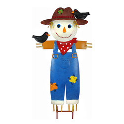 Zeckos - Country Scarecrow Metal Wall Hanging / Garden Stake - This wonderful hand painted three dimensional metal scarecrow can be used as a wall hanging or a garden stake. Measuring 18 inches tall, 9 1/2 inches across and 2 1/2 inches deep, the scarecrow has a wall hanger loop on the back, and also comes with an attachable bracket to use it as a garden stake. It has a wonderful distressed finish to give it an aged look. It'll look great on your wall or in your garden.