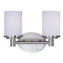 Joshua Marshal - Two Light Satin Nickel Satin White Glass Vanity - Two Light Satin Nickel Satin White Glass Vanity