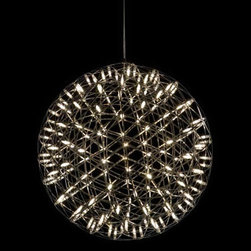 "Moooi - Moooi | Raimond Suspension Light - Design by Raimond Puts in association with OX-ID, 2006.By Moooi.Staring into the universe is now possible even on cloudy nights. Designed by a mathematics professor, the Raimond is a sphere created from a series of triangular shapes. The intricate spheres of Raimond transport the electrical current. The LED terminals then join these paths to create an atmospheric ambiance. The transparent lenses are specially detailed to spread warm white light in every direction.Transparent lenses. The driver is located in the canopy. 110V input, 5V output. Equipped with 13 feet of field-cuttable black wire (minimum length is 12""), white steel canopy. Available in three sizes."