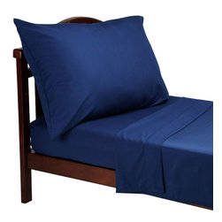 Crown Crafts Infant Products - Navy Blue Toddler Sheets 3pc Microfiber Bed Sheet Set - FEATURES: