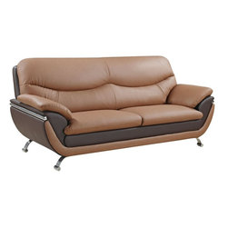 Global Furniture - Sofa in Tan/Brown Leather Match - Two-toned, plush seating and contemporary style is what you get in this light/dark brown bonded leather sofa. Finished with chrome legs this piece will make a wonderful addition to your living space.