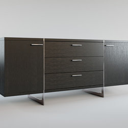 Greenwich Contemporary & Modern Sideboard by ModLoft - Greenwich two-door, three-drawer dining buffet. Finished in luxurious wenge or walnut veneer with the direction of the grain articulating the different sections, this striking buffet appears to be suspended from the stainless steel legs which run from top to floor. Each inside cabinet measures 14.75W x 16D x 18.5H, equipped with a fixed center shelf. Available in wenge or walnut wood finishes. Also available in white lacquer finish. Arrives assembled. Imported.