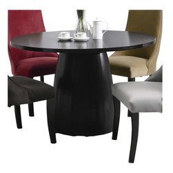 Coaster - Coaster Amhurst Single Pedestal Round Dining Table in Black Satin Finish - Coaster - Dining Tables - 101590 - The Amhurst Collection bestows a self-assured elegance that captures the aura of classic casual dining. Featuring simple designs and a variety of materials this collection is versatile and able to fit any occasion or dining room theme formal to casual. Crafted from Ash veneers each item boasts an elegant black satin finish. Upholstered pieces make the collection customizable to your individual liking. Clean lines are matched to basic dining furniture ideals to create a comfortable functional and classy Amhurst Collection.