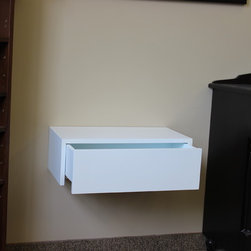 Contemporary Wall Hung Night Tables - Simple wall hung night stand, finished in low sheen white lacquer.