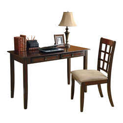 Monarch Specialties - Monarch Specialties I 7130 Dark Brown Birch Veneer 2 Piece Desk Set - This classic two piece desk set will be a nice addition to your hallway, bedroom, or informal home office area. It features a contemporary style, with a roomy work space, straight smooth edges and tapered legs. Two drawers are great for stowing away your mail and keeping unwanted clutter organized. With a dark brown birch finish and constructed with solid hardwoods and veneer, this writing desk will add sophistication to any room. The matching chair features sleek wooden legs, accompanied with a comfortably padded beige chenille covered seat and open lattice design. Desk (1), Chair (1)