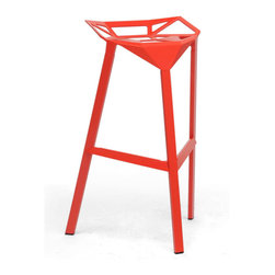 Wholesale Interiors - Kaysa Red Aluminum Bar Stool - Modern, futuristic, industrial - this bar stool fits into all of these categories with an equal amount of ease. The versatile Kaysa bar stool is the bare minimum of a stool in its form but though only a basic frame, it still manages to delight. The fully-assembled aluminum frame with red coating and non-marking feet is suitable for both indoor and outdoor use. You will love the fact that this is a stackable design, making it especially convenient as a restaurant bar stool or commercial bar stool. This modern barstool is made in China and is fully assembled. It is also available in black or white and is also offered as a black dining chair (each sold separately). Dimensions: 32.5 inches high x 16 inches wide x 13.375 inches deep, seat height 31.75 inches.