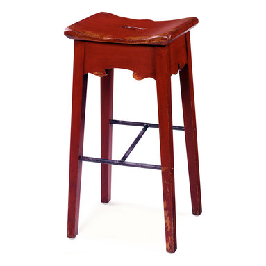 The No. 119 Bar Stool, Barn Red - We designed these Tuscan stools for Jim Noble's Rooster's Wood-fired Kitchen in Charlotte. The seat is very comfortable with well-rounded edges. Note that the footrest on one side is higher than on the other side to accommodate tall and short people.