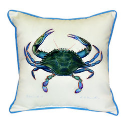 Betsy Drake Interiors - Betsy Drake Blue Crab Male Indoor Outdoor Pillow, 12x4x12 - Decorative Pillow Can Be Used Indoors Or Outdoor.  Brightens Up Any Room Or Patio.  Small Pillow Make A Great Gift. Spot Clean With Water Or Dish Soap.