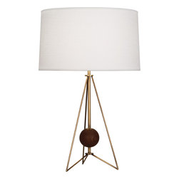 Robert Abbey - Jonathan Adler Ojai Table Lamp - This intriguing lamp looks like it belongs on the desk of a curious and creative thinker. The style is light and modern, with that slender metal open base design, but the aged brass finish and center wooden ball have a quirky antique charm, like some kind of vintage science model. Turn on the light and maybe you'll have some lightbulbs go off in your head, too.