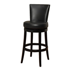 Armen Living - Armen Living Boston 26 Inch Black Bicast Leather Swivel Barstool - Armen Living - Bar Stools - LC4044BABL26 - The incomparably chic look of the Boston Swivel Barstool in black bicast leather is sure to elevate the design element in your home. Nailhead accents on the outside back add virulent value to sophisticated style.