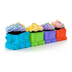 Fred and Friends - Cupcake Express - Baking Cups - All aboard for fun! This four-cupcake train is now departing for your favorite party destination. Load each food-safe silicone car with your favorite cake mix, bake, and serve frosted and decorated with candy cargo. The Cupcake Express is a sweet way to ride the rails. You get four silicone baking molds packed in a full-color gift box.