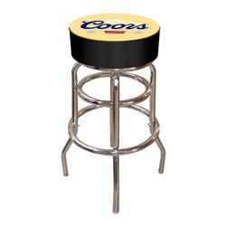 Trademark Global - Bar Stool w Padded Seat & Coors Banquet Logo - Adjustable levelers. Long lasting officially licensed Coors Banquet Logo. Great for gifts and recreation decor. 7.50 in. High padded seat. 30 in. High bar stool great for bar pub table and bars. Commercial grade vinyl seat. Chrome plated double rung base. 14.75 in. W x 14.75 in. D x 30 in. H (17 lbs.)This Coors Banquet Bar Stool will be the highlight of your bar and game room.