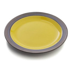 Sol Salad Plate - Sunny, glossy yellow interiors radiate warmth in casual, rounded shapes and bold rims, glazed bronzy brown. Patterning of reactive glazes will vary from piece to piece.