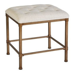 Katherine Vanity Stool - A simple, understated stool is just what this is. I love the tufting details and the linen upholstery.
