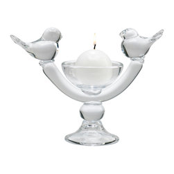 Kathy Kuo Home - Ucelli Birds in Song Glass Ball Candleholder - Well, we know how the saying goes but when looking at this piece it is clear that two birds on the stand (candle stand, that is) are better than two in the bush!  Artfully crafted in clear glass, this charming piece lets the natural beauty of candle light take center stage in a charming and contemporary setting.