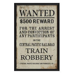 "The Artwork Factory - ""Wanted for Train Robbery"" Print - You wanted an old West feeling for your homestead. Well, here's your reward. It's a high quality print based on a vintage notice. It'd be a crime not to hang it in your man cave or in the bedroom of your favorite little outlaw."