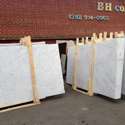Royal Stone & Tile Slab Yard in Los Angeles - Italian Carrara White Statuary Slabs in Polished and Honed finish at Royal Stone & Tile in Los Angeles