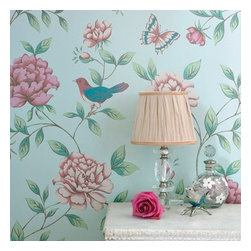 Graham & Brown - Isabelle Wallpaper - Takes its inspiration from a French wallpaper document from the 18th Century. The birds and butterflies, add a quirky touch to the wallpaper. This blue wallpaper is paste the wall so it hangs in half the time of normal decorating.