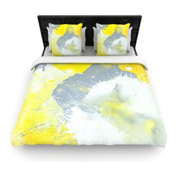 "Kess InHouse - CarolLynn Tice ""Make A Mess"" Yellow Gray Cotton Duvet Cover (Twin, 68"" x 88"") - Rest in comfort among this artistically inclined cotton blend duvet cover. This duvet cover is as light as a feather! You will be sure to be the envy of all of your guests with this aesthetically pleasing duvet. We highly recommend washing this as many times as you like as this material will not fade or lose comfort. Cotton blended, this duvet cover is not only beautiful and artistic but can be used year round with a duvet insert! Add our cotton shams to make your bed complete and looking stylish and artistic!"
