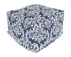Majestic Home - Indoor Navy and White French Quarter Large Ottoman - When it comes to decor, you always use your bean — so this fun, fresh ottoman is a natural. It's versatile enough to function as coffee table, footstool or seat and stylish enough to wow the crowd in your favorite modern setting.