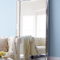 """Horchow - Floor Mirror - This mirror-framed mirror provides illusions of space and fills the room with light. 44""""W x 4""""D x 79""""T with nailhead trim. Frame is antiqued; mirror is beveled. Imported."""