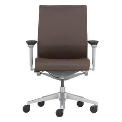 Steelcase® Think™ Leather Office Chair - The Steelcase Think office chair is intelligent enough to understand how you sit and adjusts itself intuitively, yet it's thoughtful enough to minimize its environmental impact. It has even been awarded gold level Cradle to Cradle™ certification by an organization that measures environmentally intelligent design. Each chair is crafted of lightweight powdercoated steel and aluminum with seat and back upholstered in espresso top-grain leather. Fine steel flexors threaded through the seat and back of the chair provide customized support by adjusting to your individual contours and distinctive sitting style. Comfort features include weight-activated mechanism that adjusts recline support in proportion to your body weight; adjustable seat depth; and a comfort dial with four settings including mid-stop recline and upright locked back. Seat edges flex down to relieve pressure on the back of the legs; adjustable arms move in four directions. Base with platinum finish rolls smoothly on five casters.