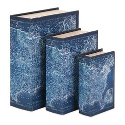 "Imax - Blue Map Cooper Book Boxes - Set of 3 - *Dimensions: 2-3-3.75""h x 4.5-6.5-8.5""w x 6.75-8.75-10.75"""