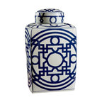 """Bungalow 5 - Bungalow 5 Jasper Square Jar - The Bungalow 5 Jasper jar's alluring square design exudes captivating style. A contemporary blue pattern dazzles across the white porcelain vessel for eye-catching appeal. 9""""W x 15.5""""H; White and hand-painted blue porcelain"""