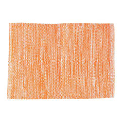 """Pine Cone Hill - PCH Mingled Tangerine Placemat Set of 4 - Perk up the table with the versatile Mingled placemats in tangerine orange by PCH. Designed for indoor and outdoor use, layer these easy-care table mats with other colors and patterns to create a variety of looks. 20""""H x 14""""W; Set of 4; 100% polypropylene; Designed by Pine Cone Hill, an Annie Selke company; Machine wash, line dry"""