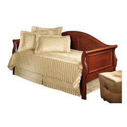 Hillsdale Furniture - Hillsdale Bedford Daybed - Traditional wood sleigh daybed featuring molded raised panel side and back. Finish: a deep, warm cherry finish of unusual clarity. All wood construction made from tropical hard wood. All carvings are done by hand.