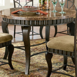 Steve Silver Co. - Hamlyn Marble Top Dining Table in Pewter Fini - Wavy panels and decorative curved legs. Earth tone inspired marble top. Pewter finish. Contemporary style. Sturdy gauge metal construction. Select hardwood solids material. Some assembly required. 44 in. L x 44 in. W x 31 in. H (112 lbs.)