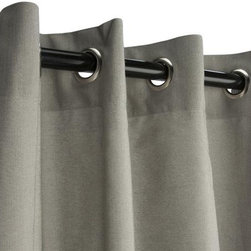 Sunbrella Outdoor Curtain with Grommets - Dove - Sunbrella is a heavy-duty yet lightweight acrylic blend, resistant to staining, rot, mold and mildew, yet has a softness on par with cotton. The Grommet Top hanging style is among the most efficient, and popular, for outdoor settings, and also among the easiest to use as well.  Grommets are nickel plated.  Panels are sold as individuals with a tie back.