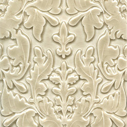 "Damask Tile - Damask Tile 4x6.5""- Ceramic Tile shown in C05 Vellum Crackle available in over 40 colors and finishes"